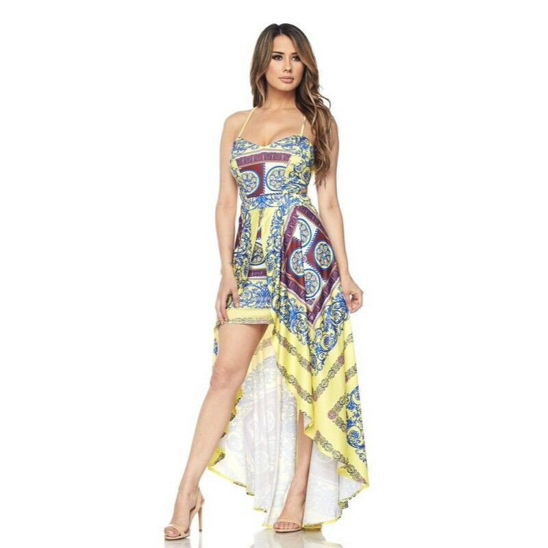 damen Gelb Filigree Printed Going Out High Low Dress