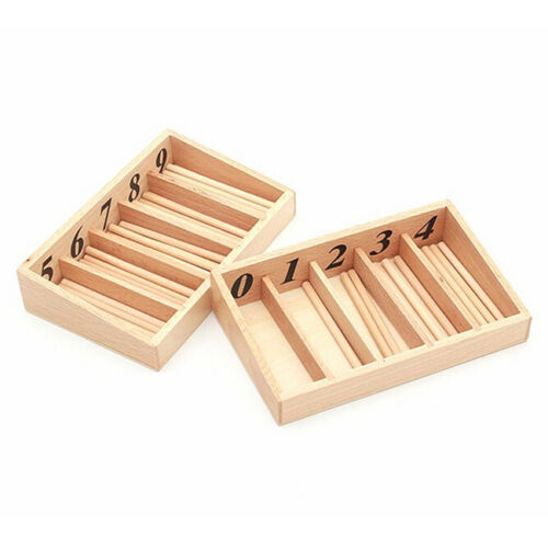 Montessori Educational Wooden Toys For Children Spindle Box With 45 Spindles Mat