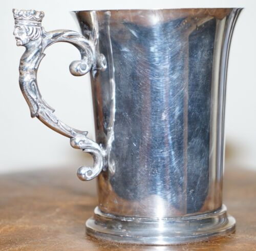 STUNNING LIBERTY'S & CO ANTIQUE SILVER PLATED TANKARD CUP WITH KING HANDLE