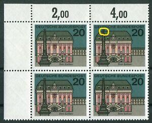 Bund-424-I-Viererblock-VB-Plattenfehler-BRD-PF-Michel-MNH