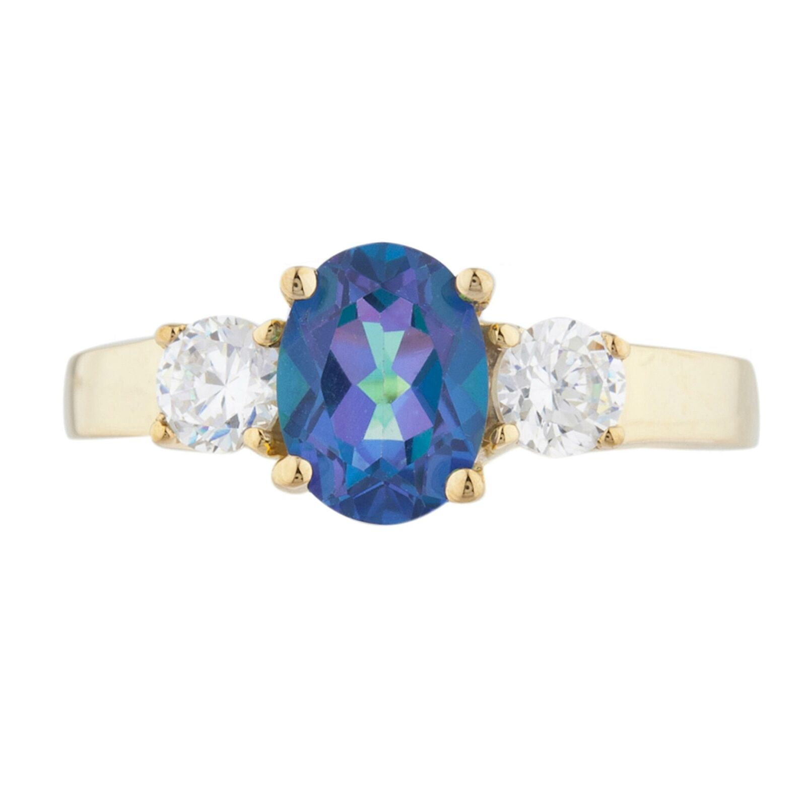 14Kt gold 2 Ct Natural bluee Mystic Topaz & Zirconia Oval Ring