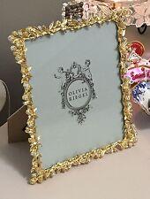 """Olivia Riegel Gold Cornelia Swarovski Crystal 8"""" x 10"""" Photo Frame NEW In Box!"""