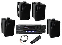 4) Pyle Plmr24b 3.5 200w Box Speakers + Pt260a Home Digital Stereo Receiver on sale