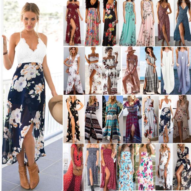 Women Maxi Boho Floral Summer Beach Long Dress Skirt Evening Cocktail Party 6-20