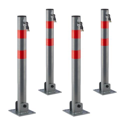 4 x Absperrpfosten rund Pfosten Sperrpfosten aus Stahl Parkplatzabsperrung
