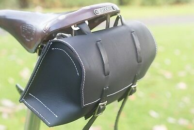 LARGE Bike Saddle Bag BLACK SIZE Leather Bag Bicycle White TwAnxExUq