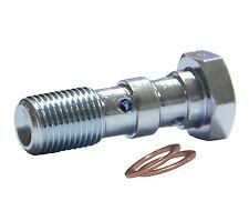 M10 x 1mm Double Banjo Bolt, Zinc Plated AN-3 Teflon Hose brake system fitting