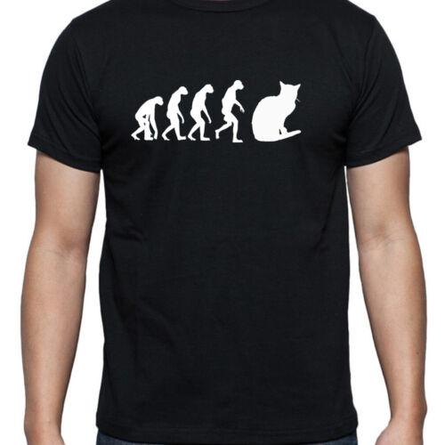 EVOLUTION OF MAN CAT ORNAMENT TSHIRT T SHIRT XL XXL XXXL MOGGY  BED SIGNS BLACK