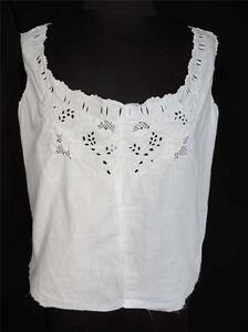 RARE-DEADSTOCK-EDWARDIAN-ERA-HAND-EMBROIDERED-WHITE-COTTON-TOP-SIZE-36-38