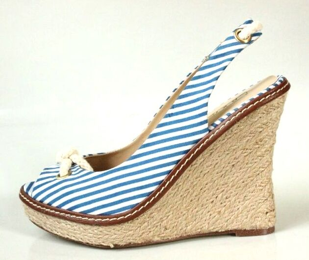New  EXE 'pink' bluee white canvas platforms braided rope wedges shoes