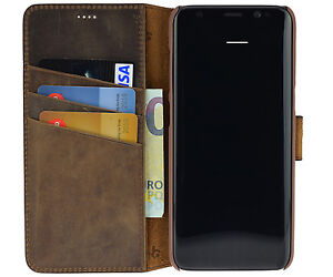 Leather-Case-Flip-Case-Cover-Antique-Braun-for-Samsung-Galaxy-S8-Plus
