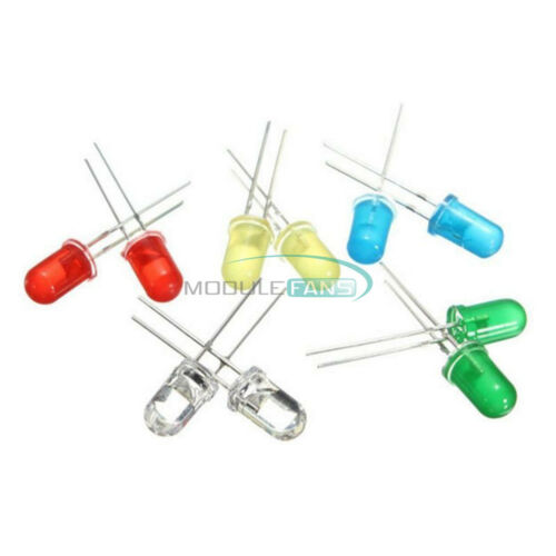 300PCS 3mm 3V 20mA Round White//Yellow//Red//Blue//Green LED Light Assortment Diodes