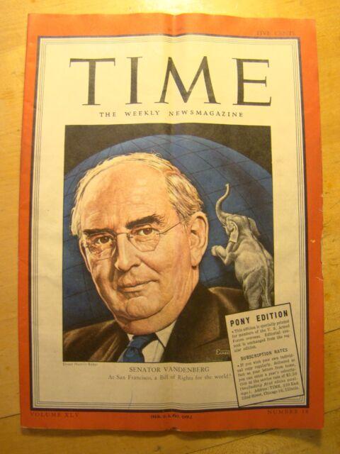 Time Magazine Armed Forces Pony Edition April 30 1945  Senator Vandenberg