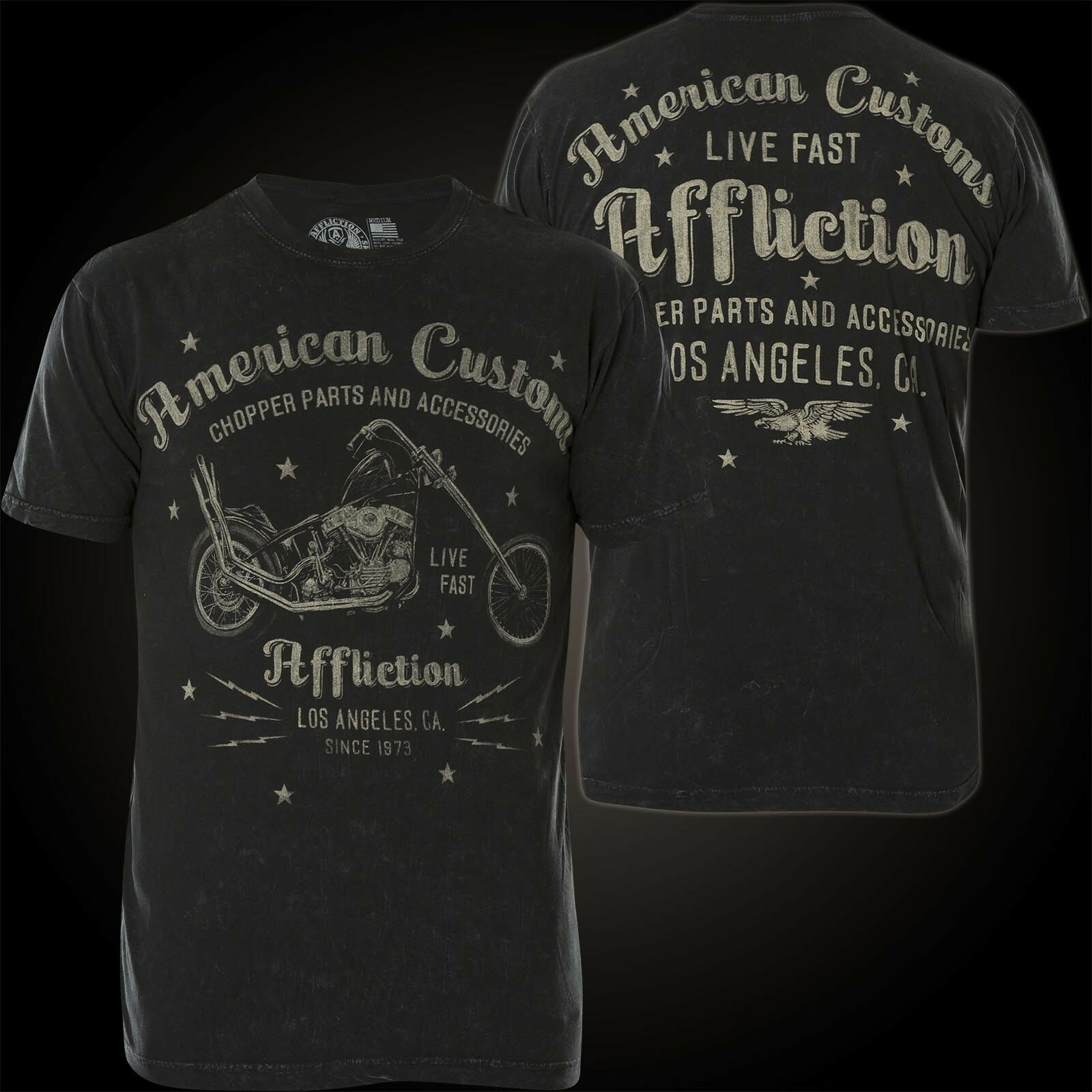 AFFLICTION T-Shirt AC Vintage Dealer Schwarz T-Shirts