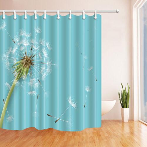 Nature Shower Curtain set  Dandelions on DarkTurquoise Background Bathroom decor