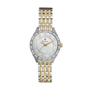 Bulova-Watch-Women-039-s-Two-Tone-Stainless-Steel-98L162-Crystals-Wrist-Bracelet-New
