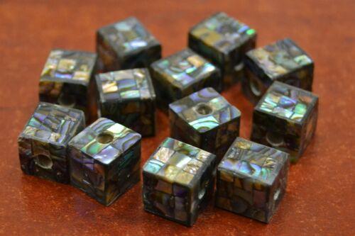 12 PCS SQUARE CUBE ABALONE SHELL MOSAIC LOOSE BEADING BEAD 10MM #T-877