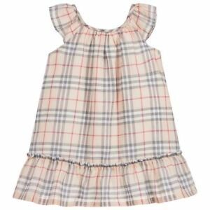 3c3f483da259 NWT NEW Burberry Tania baby girls pale stone dress nova check 3m 9m ...