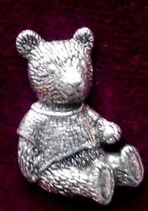 Quality  Vintage Teddy Bear  Pewter Pin Brooch
