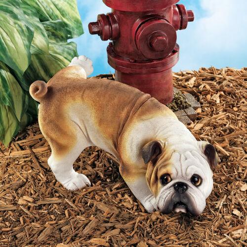 Peeing Bulldog Garden Sculpture Home Dog Statue
