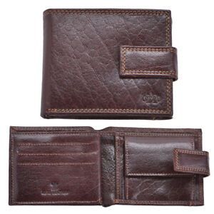Luxe-Veritable-Grained-Cuir-Homme-Flip-Out-Wallet-Purse-Coin-Holder-Brown