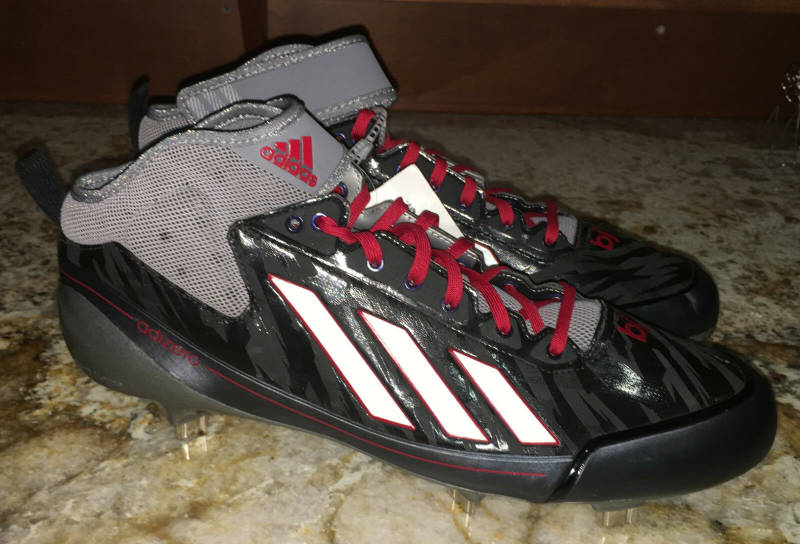 ADIDAS Adizero 5 TOOL 2.5 Mid Black Red NEW Baseball Metal Spikes Cleats NEW Red Mens 12 b1a883