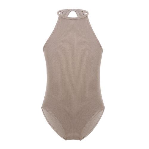 Kid Girl Gymnastics Leotard Ballet Black//Nude Bodysuit Dance Wear Tank Camisole