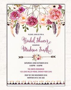 Image Is Loading Boho Bridal Shower Invitation Fl Invite Dreamcatcher Hens