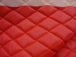 Foam Upholstery Red Faux Champ Diamond Quilted Vinyl Fabric With 3 8