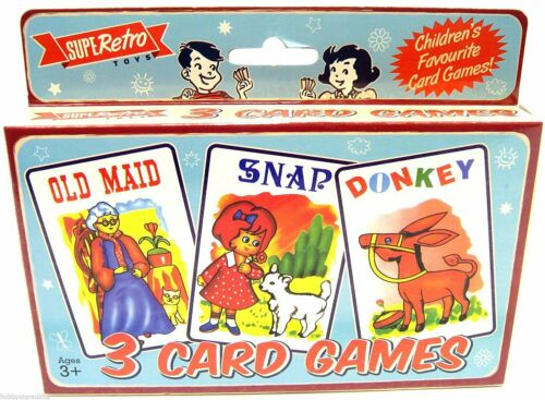 CAROUSEL Retro Set Of 3 Card Games Playing Cards ~ Old Maid Snap Donkey