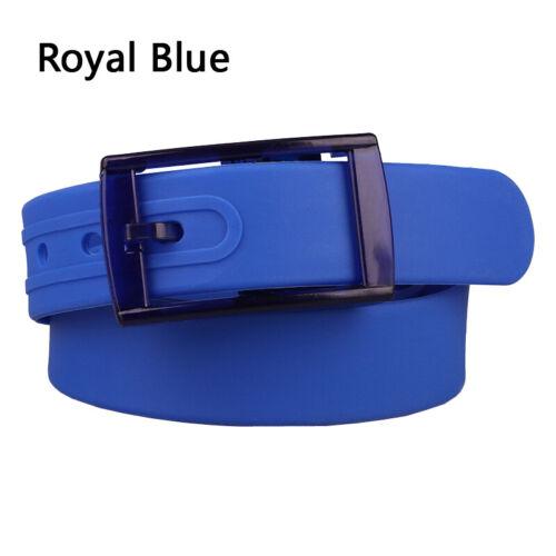 UK Men Women Unisex Plain Smooth Silicone Rubber Leather Belt Plastic Buckle Hot