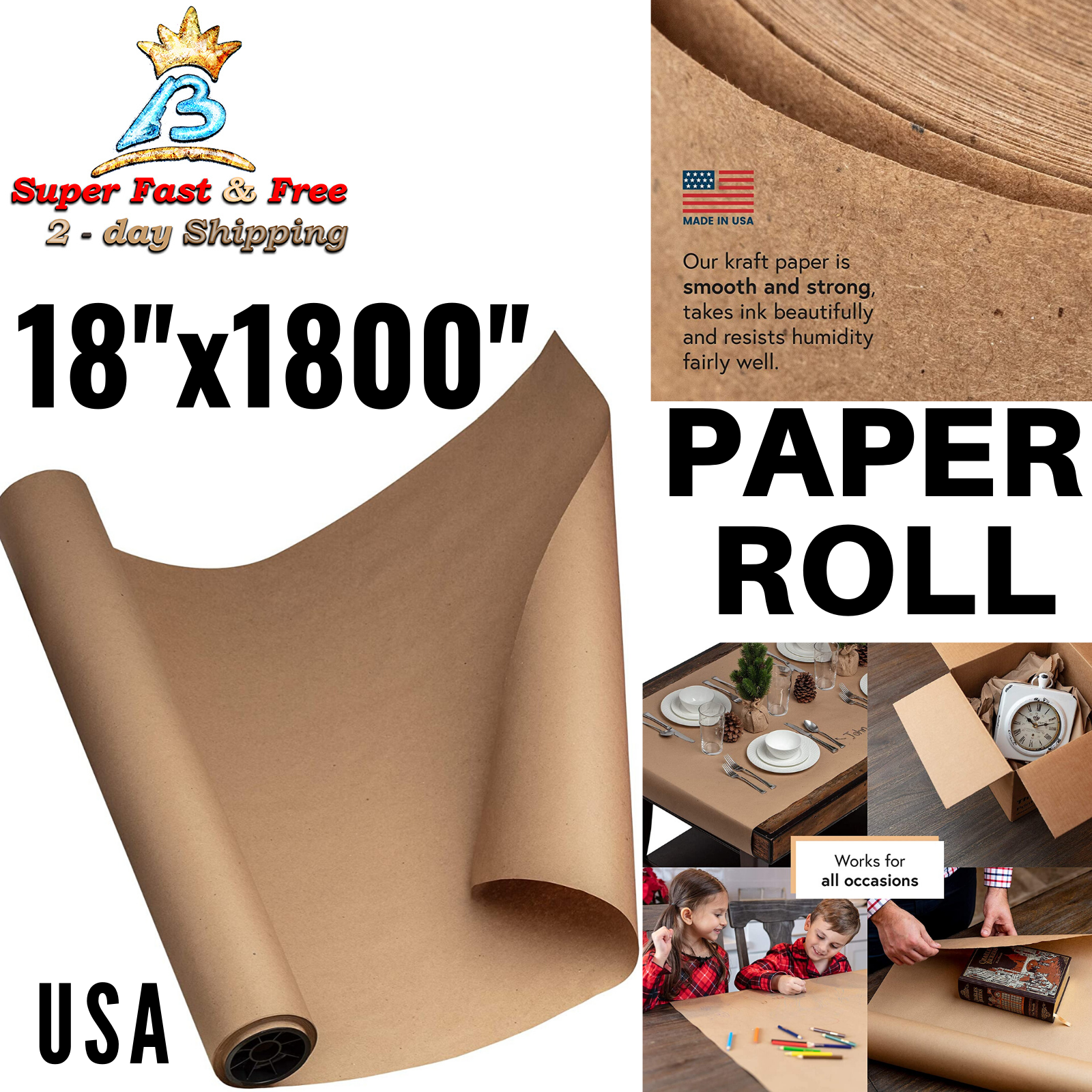 Craft Perfect for Packing Kraft Paper Roll 18 X 1800 Made in Usa 100/% Natural Recycled Material Postal Dunnage and Parcel Butcher 150ft Shipping Wrapping White Mega Roll