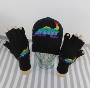 Image is loading PRINTED-INSTRUCTIONS-RAINBOW-DINOSAUR-BEANIE-HAT -amp-GLOVES- d3f97d1c229