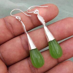 Greem-Chelcedony-Gemstone-Handmade-925-Sterling-Silver-Wire-Earring-ER-022
