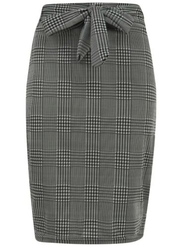 Ladies Midi Pencil Skirt Stretch Bow Check Elasticated Patterned New Womens Tube