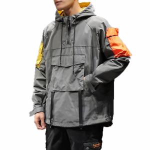 Hip-Hop-Hooded-Patchwork-Mens-Jacket-Coat-Bomber-Street-Wear-Loose-Fit-New-Ths01
