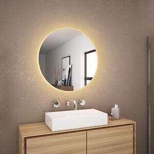 600x600mm Bathroom LED Round Mirror Touch Switch Anti ...