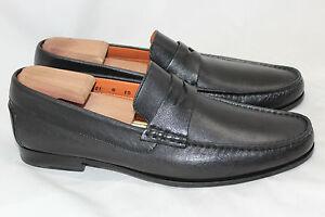 0c2b1d73d11 Santoni  Turner  Leather Penny Loafer Slip On - Black - Size 10 D ...