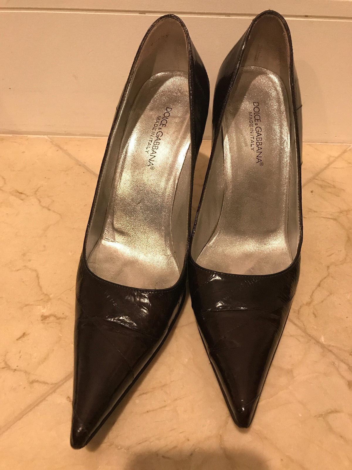 Dolce & Gabbana Burgundy Leder Pointed Toe Pumps Heels Schuhes Größe 38.5 SHARWEI