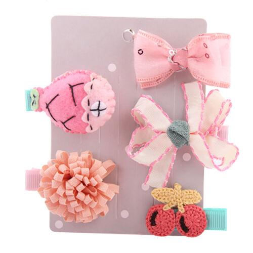 5Pc Kids Girl Toddler Hairpin Baby Girls Cute Cartoon Animal Motifs Hair Clip
