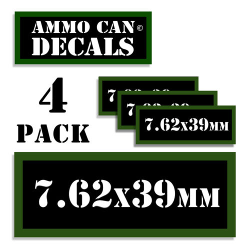 """7.62x39MM Ammo Can LABELS STICKERS DECALS for Ammunition Cases 3/""""x1.15/"""" 4pack"""