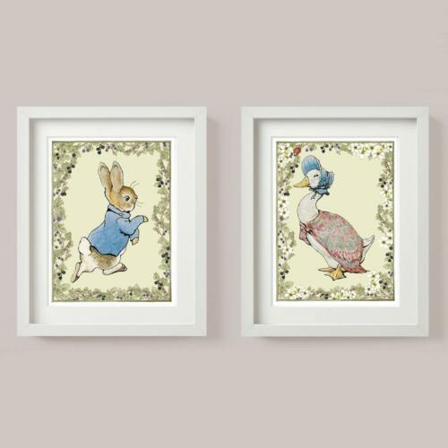 JEMIMA PUDDLE DUCK Blossom PETER RABBIT Set 2 Picture Print Nursery GIFT