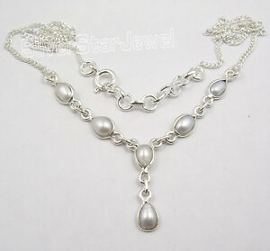 925-Sterling-Silver-Exclusive-FRESH-WATER-PEARL-MODERNISTIC-Necklace-18-5-8-034-NEW