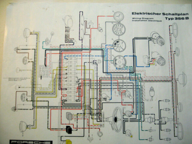 Porsche 356b Color  U0026 B  W Wiring Diagram 18 X 24
