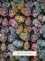 Timeless Treasures Tonga Batik Skull Fabric 100% Cotton By The Yard Cotton Candy