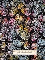 Timeless Treasures Tonga Batik Skull Fabric 100% Cotton By The Yard Cotton Candy