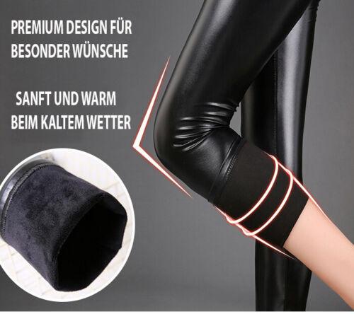 Stretch Thermo Leggings warme Hose blickdicht Schwarz Damen Legging XS S 34 36