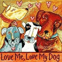 Mill Hill Beads Counted Cross Stitch Kit 7 X 7 Love Me Love My Dog 15-0103