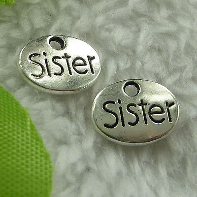 free ship 180 pcs tibet silver sister charms 12x9mm #2818