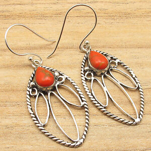 ORANGE-COPPER-TURQUOISE-Handmade-Earrings-925-Silver-Plated-Jewelry